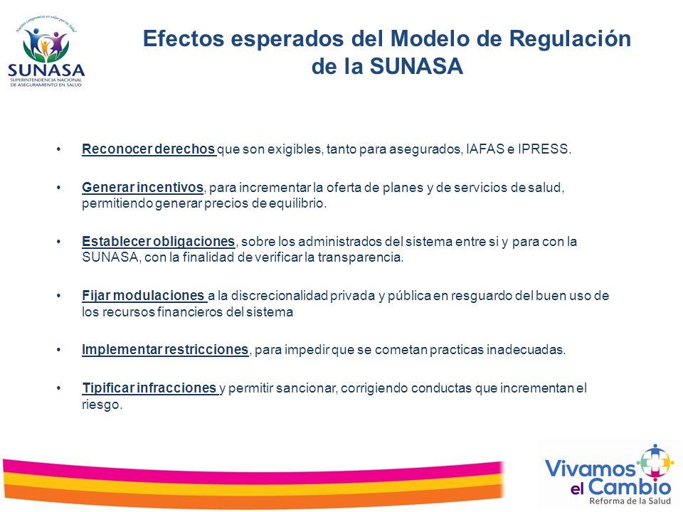 Efectos esperados del Modelo de Regulación de la SUNASA