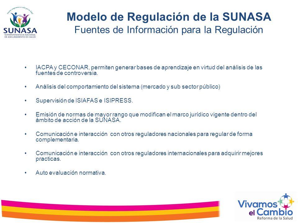 Modelo de Regulación de la SUNASA Fuentes de Información para la Regulación