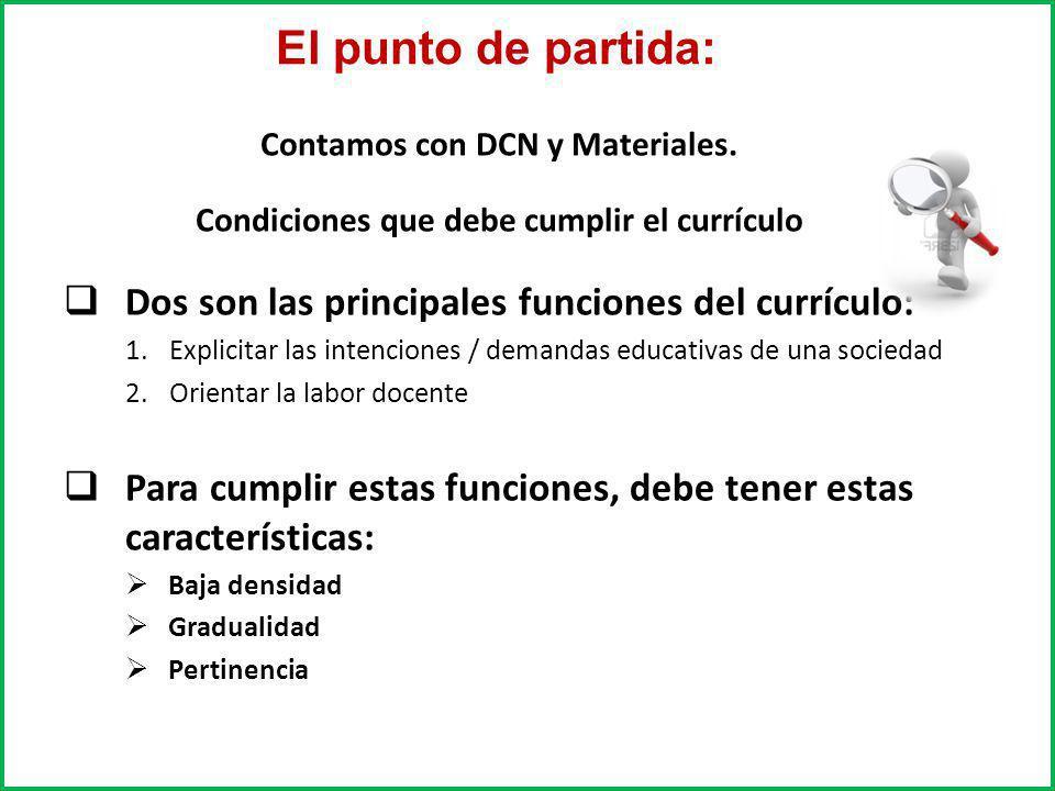 El punto de partida: Dos son las principales funciones del currículo: