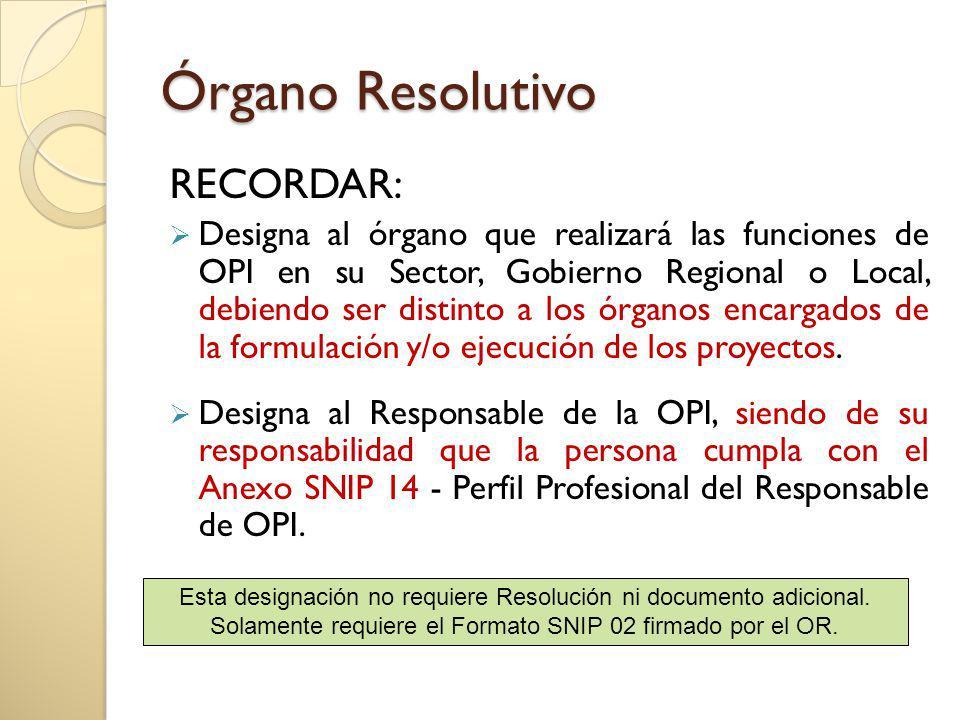 Órgano Resolutivo RECORDAR: