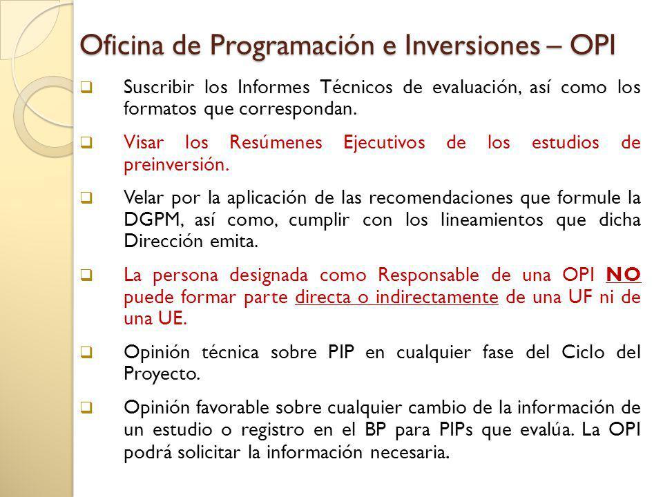 Oficina de Programación e Inversiones – OPI