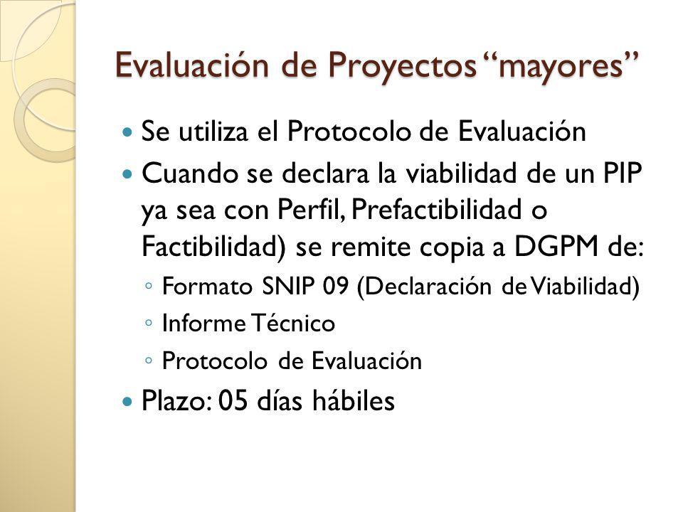 Evaluación de Proyectos mayores