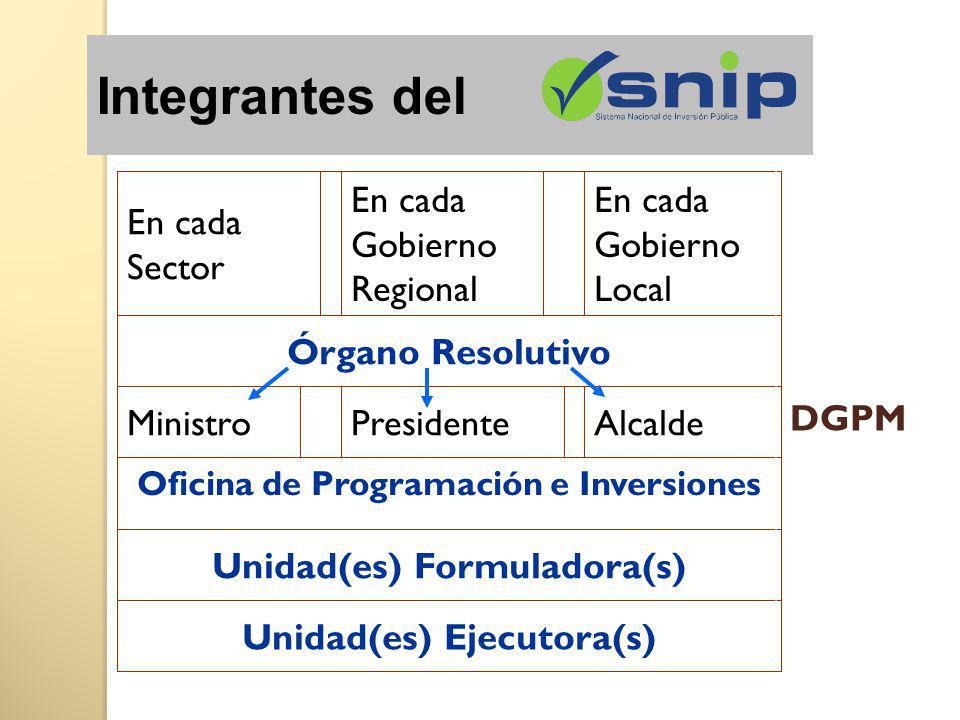 Integrantes del Unidad(es) Ejecutora(s) Unidad(es) Formuladora(s)