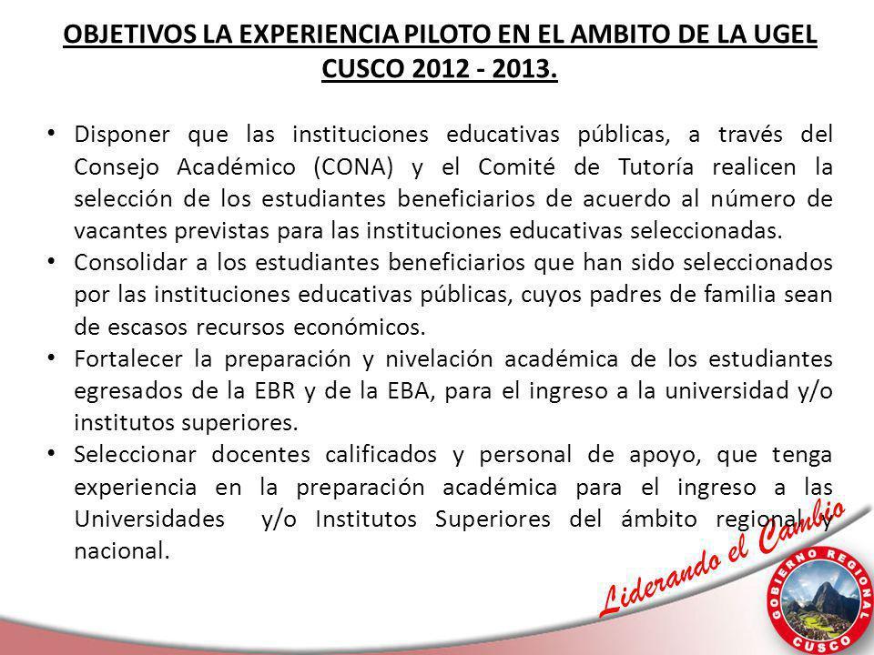 OBJETIVOS LA EXPERIENCIA PILOTO EN EL AMBITO DE LA UGEL CUSCO 2012 - 2013.