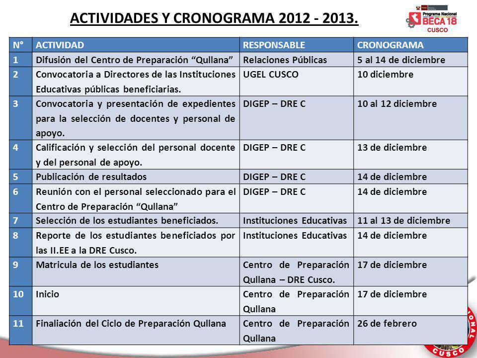 ACTIVIDADES Y CRONOGRAMA 2012 - 2013.