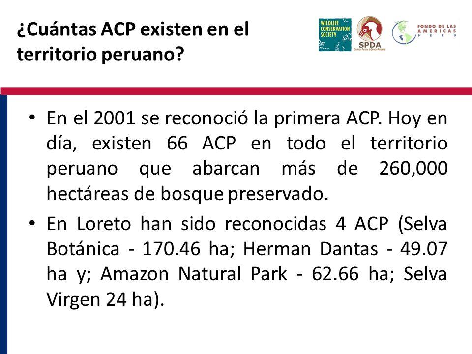 ¿Cuántas ACP existen en el territorio peruano