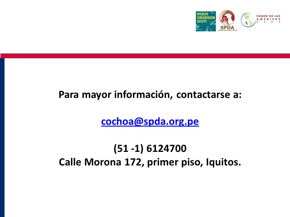 Para mayor información, contactarse a: cochoa@spda.org.pe