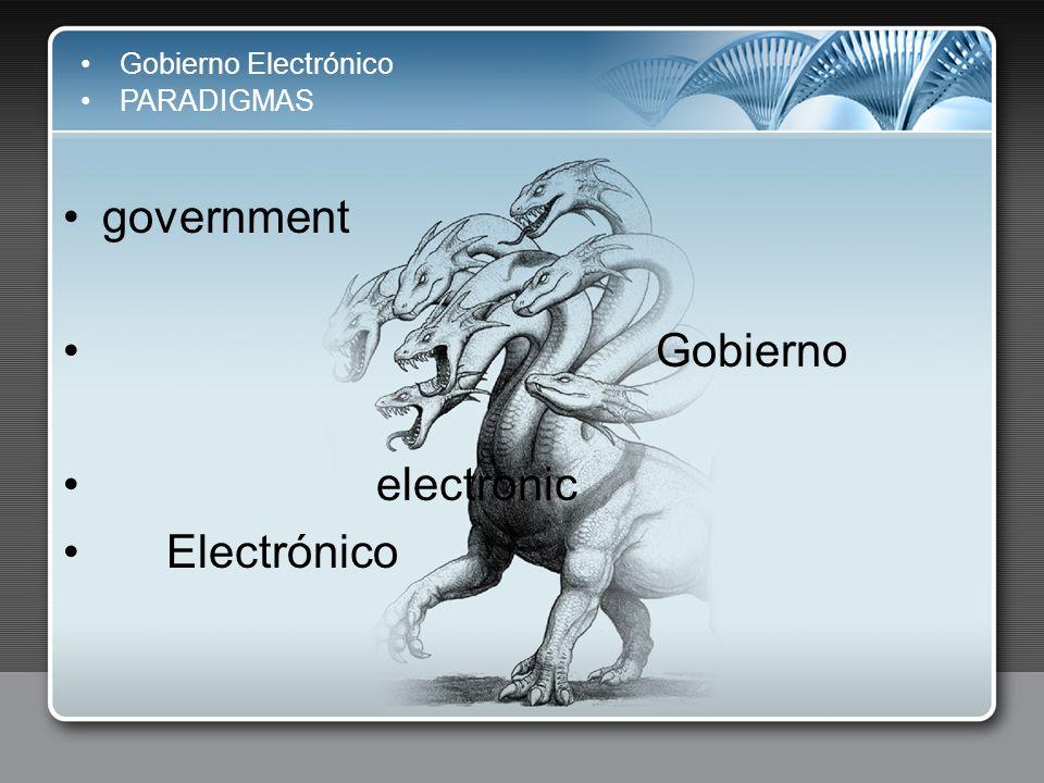 government Gobierno electronic Electrónico Gobierno Electrónico
