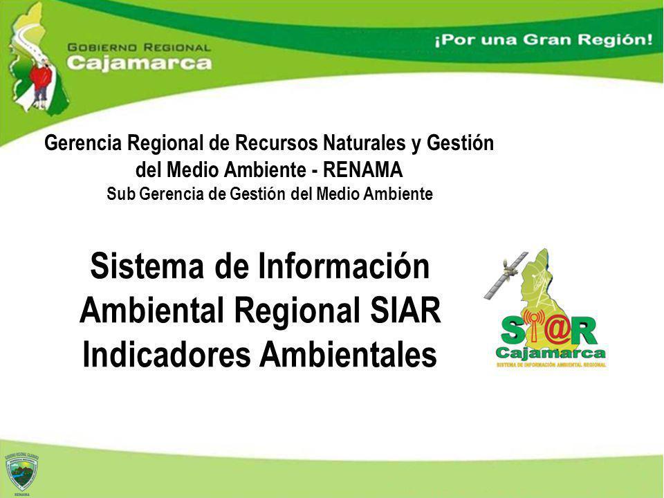 Sistema de Información Ambiental Regional SIAR Indicadores Ambientales