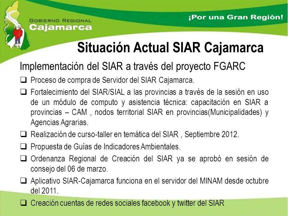Situación Actual SIAR Cajamarca