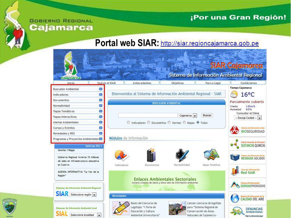 Portal web SIAR: http://siar.regioncajamarca.gob.pe