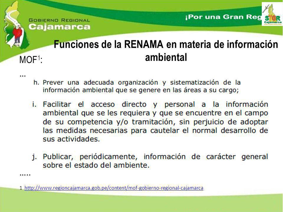 Funciones de la RENAMA en materia de información ambiental