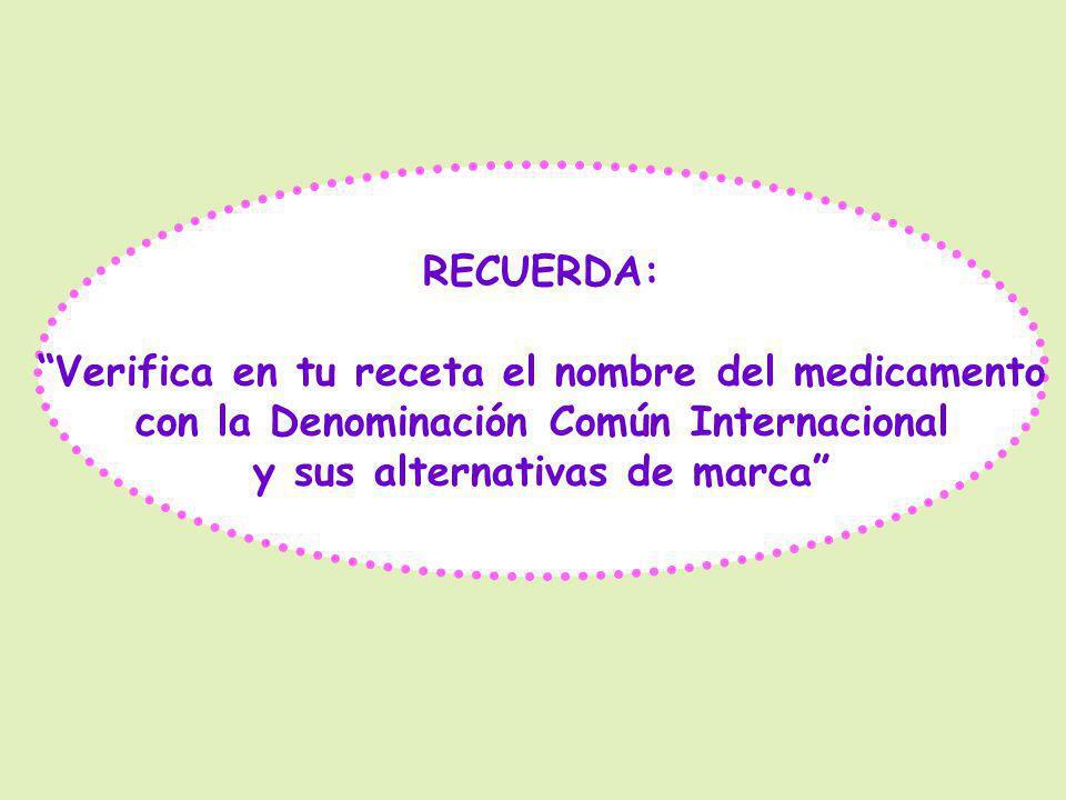 Verifica en tu receta el nombre del medicamento
