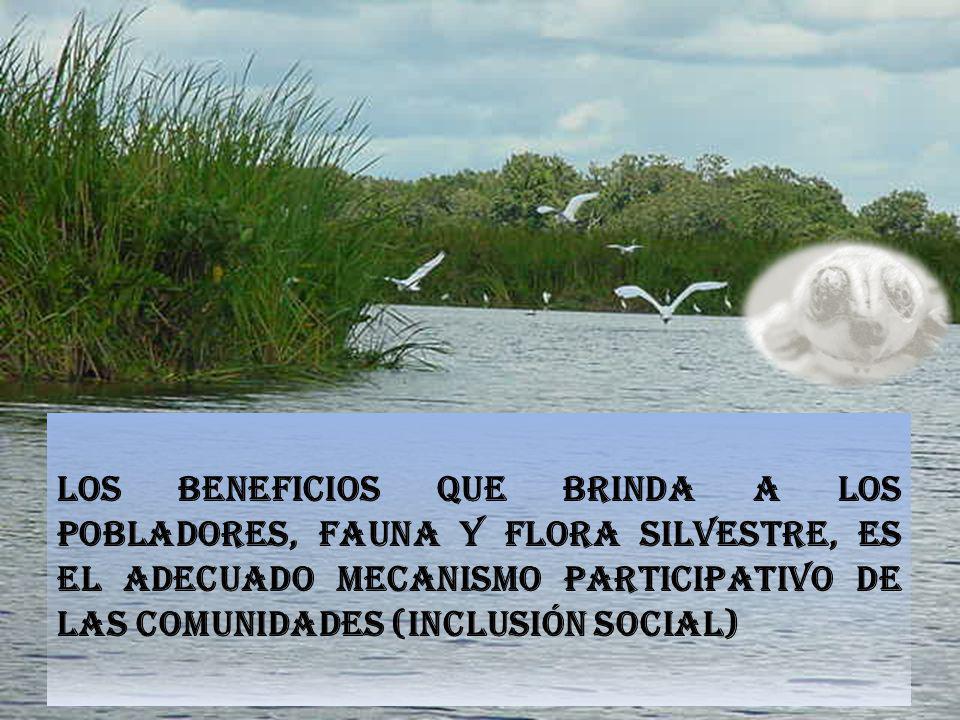 LOS BENEFICIOS QUE BRINDA A LOS POBLADORES, FAUNA Y FLORA SILVESTRE, Es el Adecuado mecanismo participativo de las comunidades (Inclusión social)