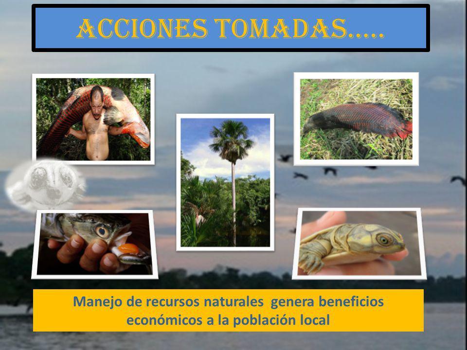 Acciones tomadas….. Manejo de recursos naturales genera beneficios económicos a la población local