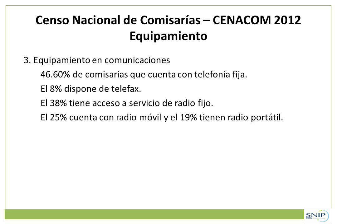Censo Nacional de Comisarías – CENACOM 2012 Equipamiento