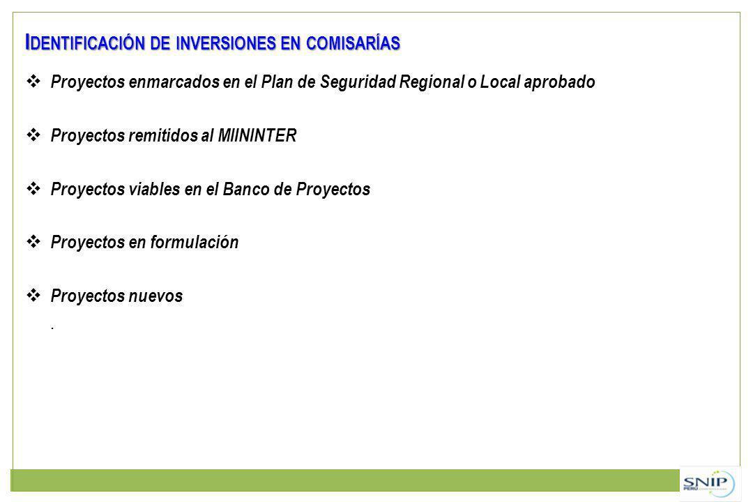 Identificación de inversiones en comisarías