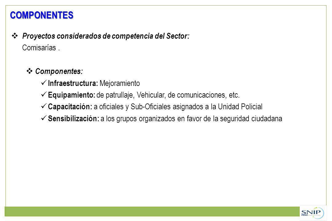 COMPONENTES Proyectos considerados de competencia del Sector: