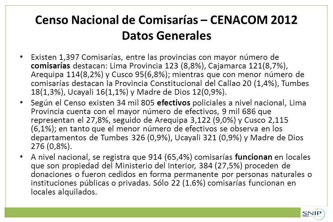 Censo Nacional de Comisarías – CENACOM 2012 Datos Generales
