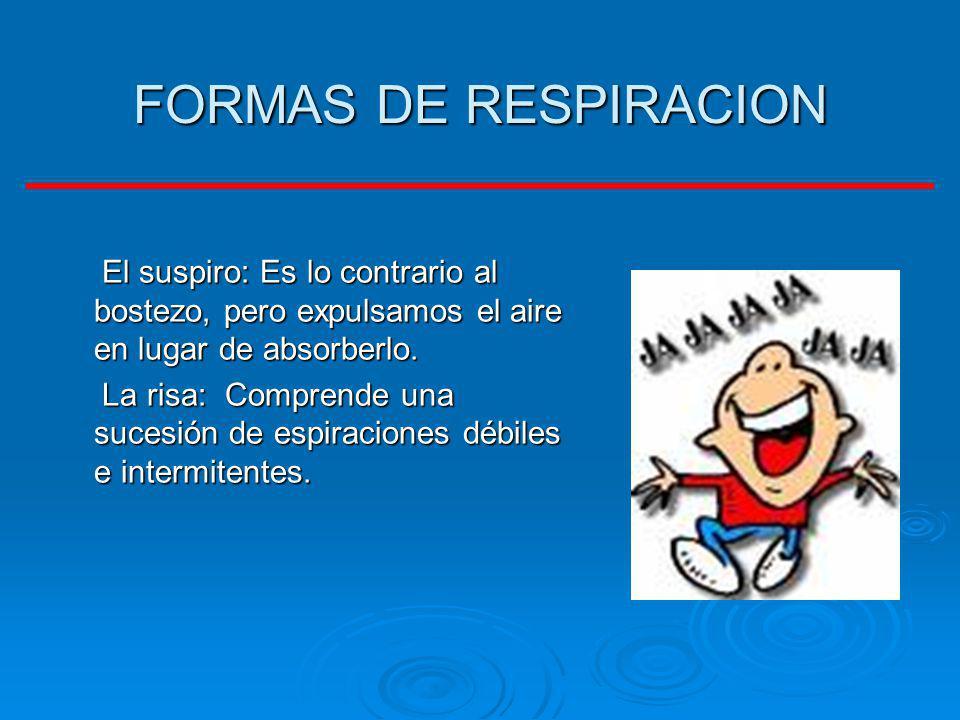 FORMAS DE RESPIRACION El suspiro: Es lo contrario al bostezo, pero expulsamos el aire en lugar de absorberlo.