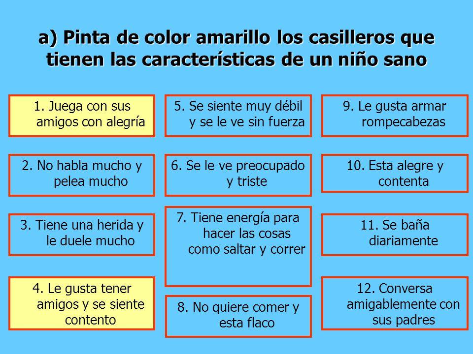 a) Pinta de color amarillo los casilleros que tienen las características de un niño sano