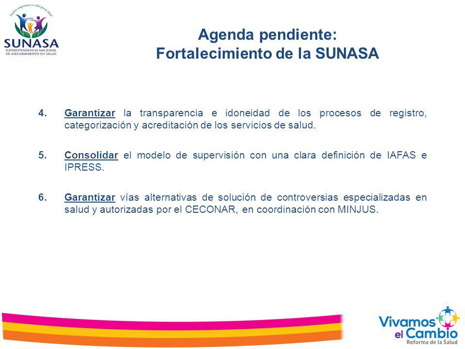 Agenda pendiente: Fortalecimiento de la SUNASA