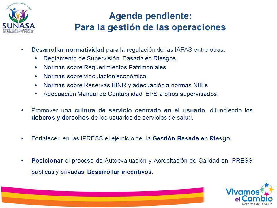 Agenda pendiente: Para la gestión de las operaciones