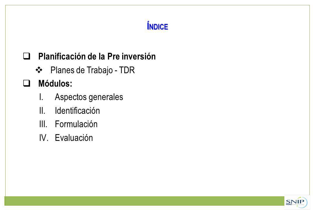 Índice Planificación de la Pre inversión. Planes de Trabajo - TDR. Módulos: Aspectos generales. Identificación.