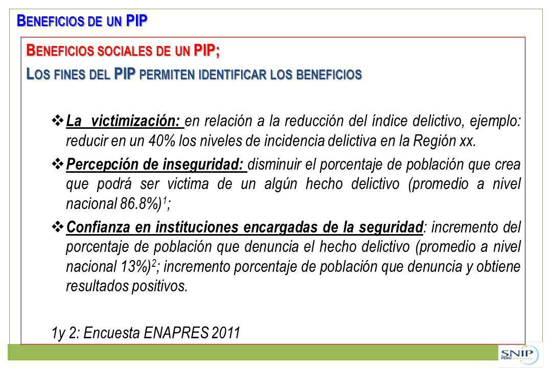 Beneficios de un PIP Beneficios sociales de un PIP; Los fines del PIP permiten identificar los beneficios.