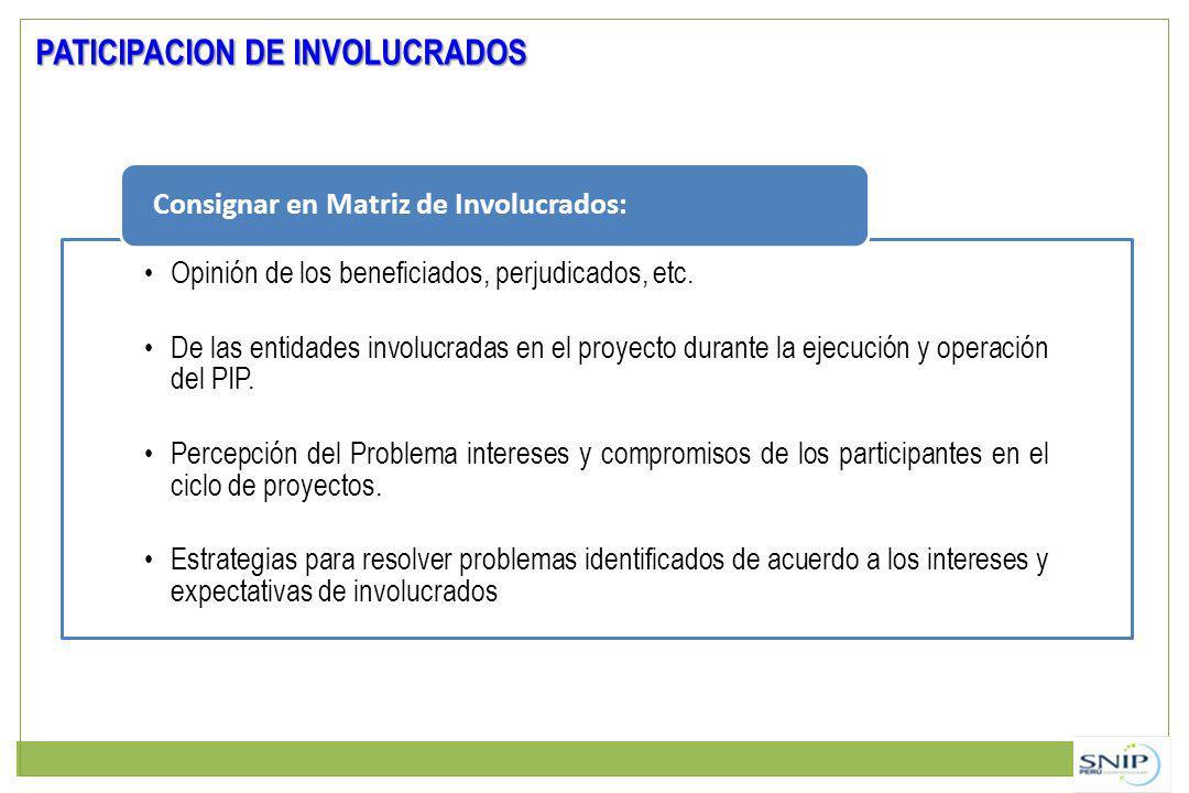 PATICIPACION DE INVOLUCRADOS