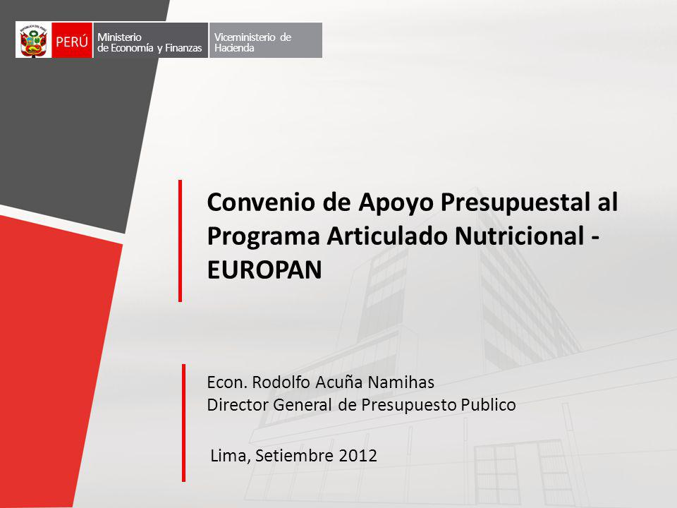 Ministerio de Economía y Finanzas. Viceministerio de Hacienda. Convenio de Apoyo Presupuestal al Programa Articulado Nutricional - EUROPAN.