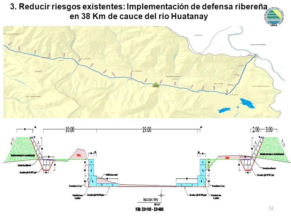 3. Reducir riesgos existentes: Implementación de defensa ribereña en 38 Km de cauce del río Huatanay