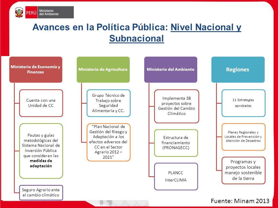 Avances en la Política Pública: Nivel Nacional y Subnacional