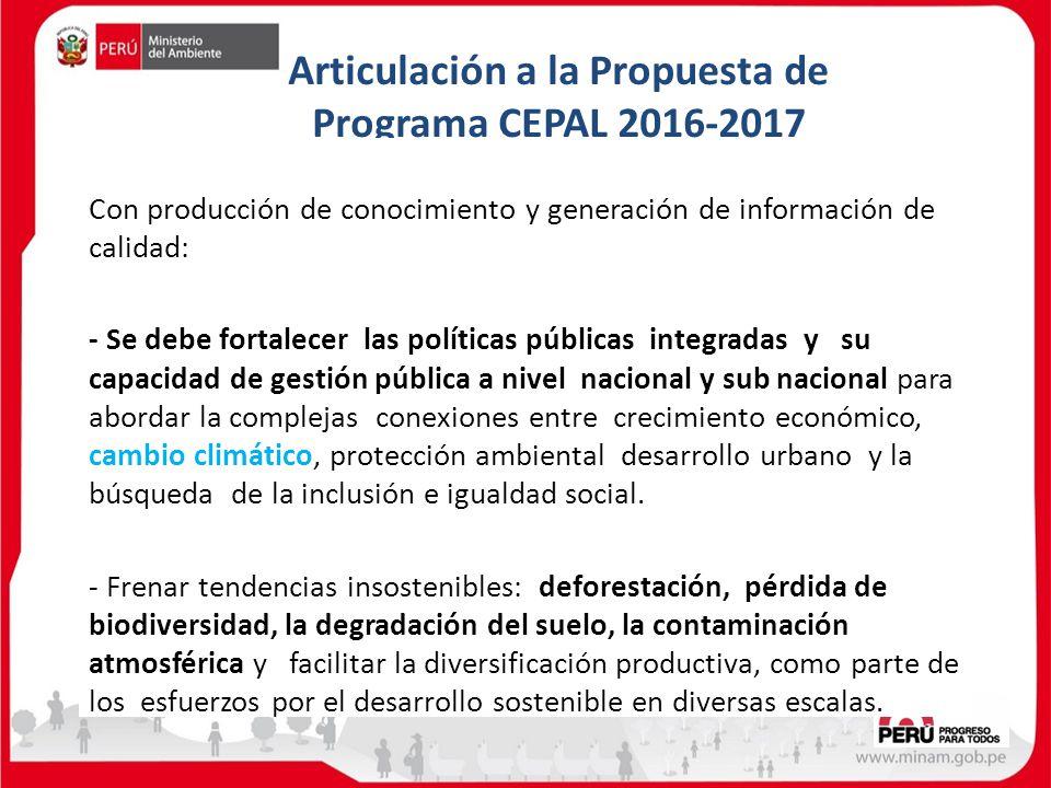 Articulación a la Propuesta de Programa CEPAL 2016-2017