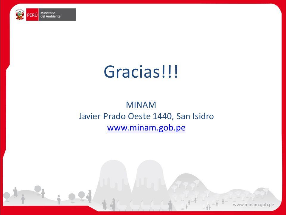 MINAM Javier Prado Oeste 1440, San Isidro www.minam.gob.pe