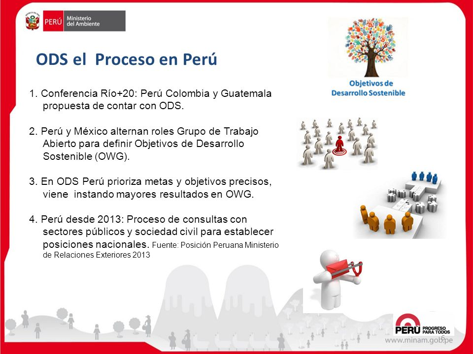 ODS el Proceso en Perú 1. Conferencia Río+20: Perú Colombia y Guatemala propuesta de contar con ODS.
