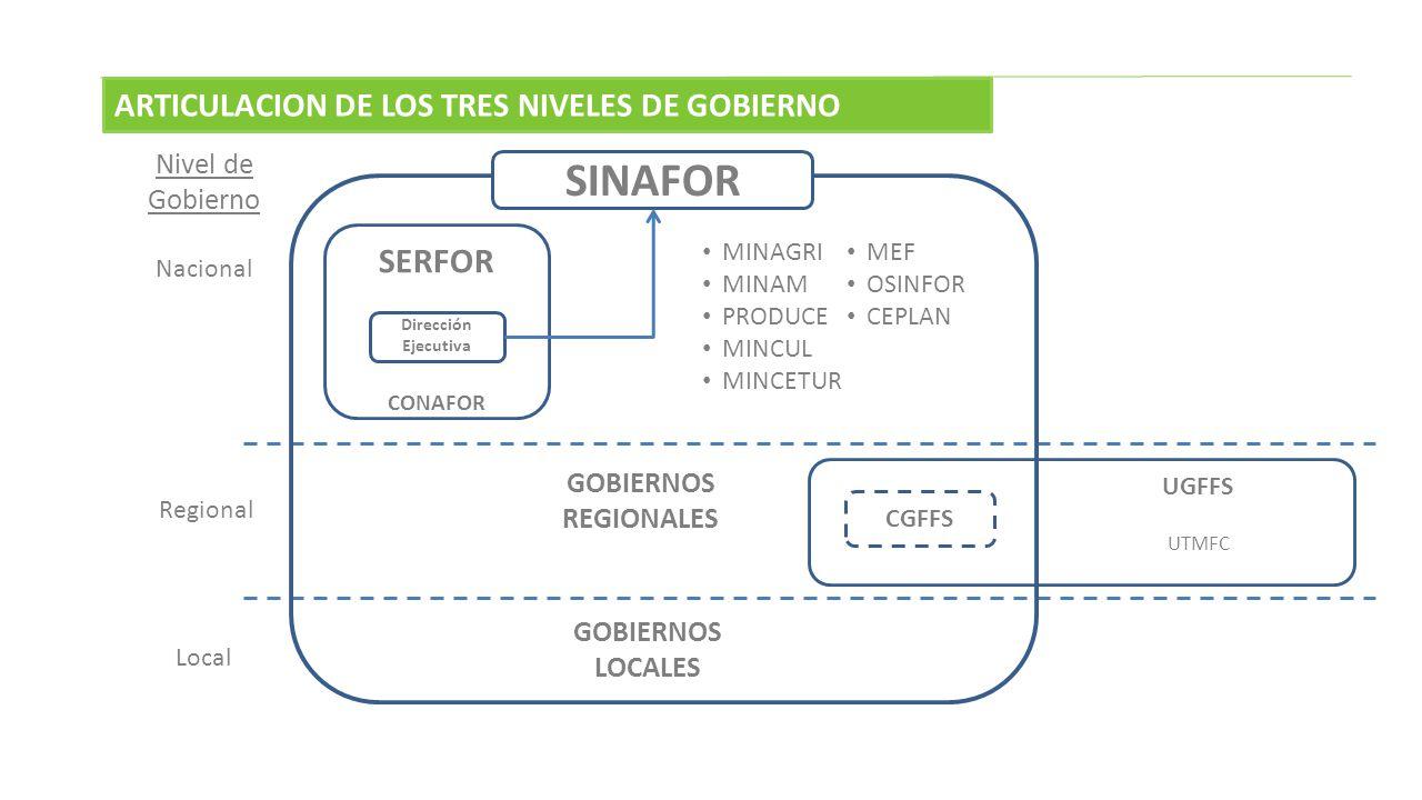 SINAFOR SERFOR ARTICULACION DE LOS TRES NIVELES DE GOBIERNO
