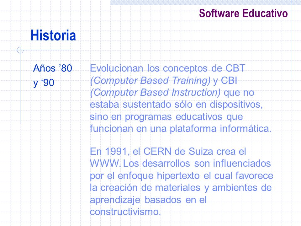 Historia Años '80. y '90.
