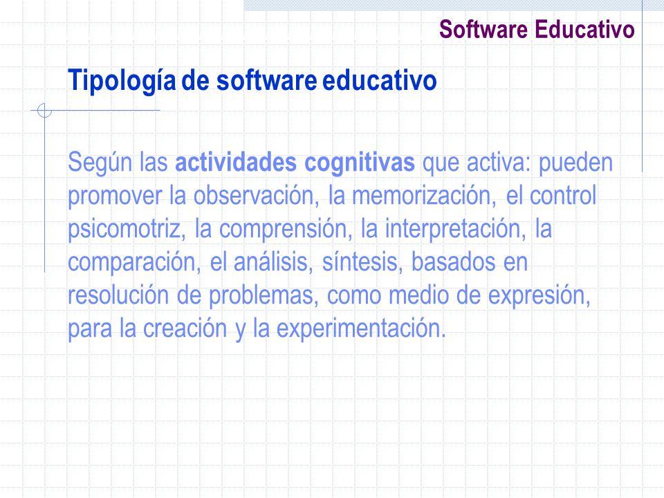 Tipología de software educativo