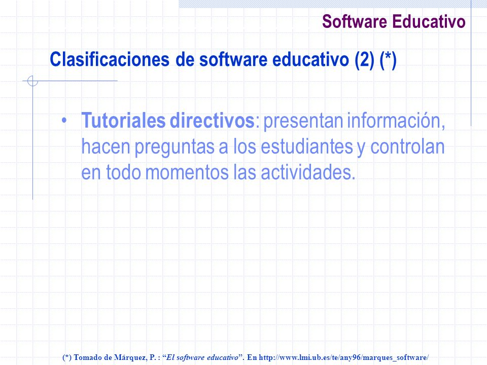 Clasificaciones de software educativo (2) (*)