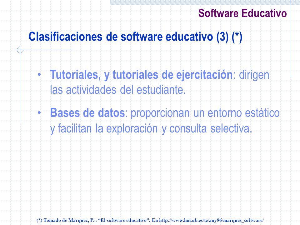 Clasificaciones de software educativo (3) (*)