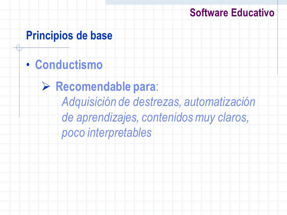 Conductismo Recomendable para:
