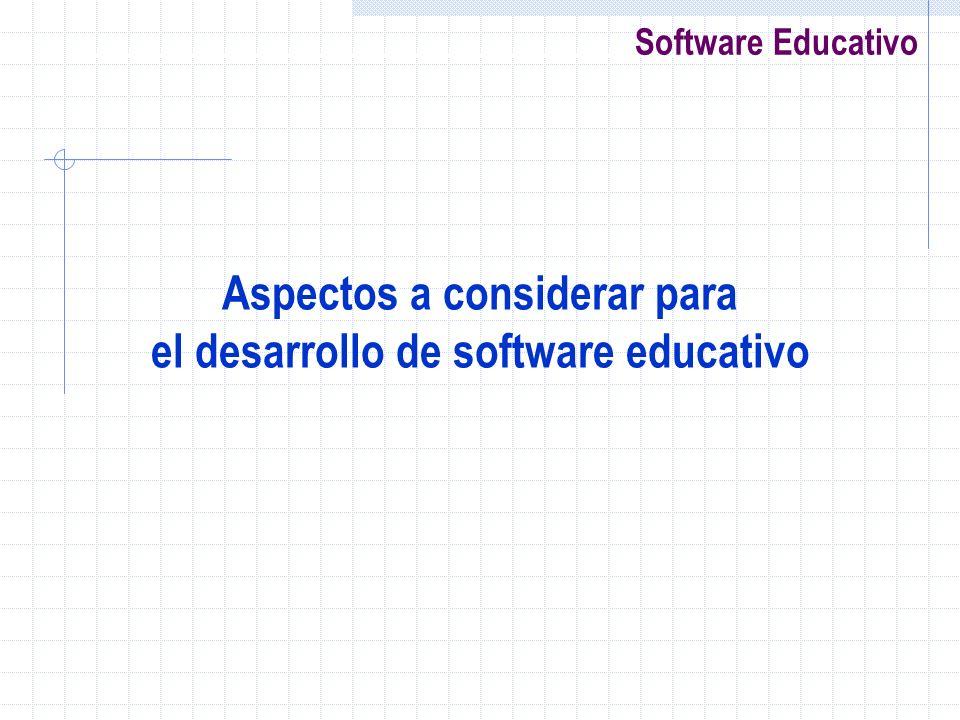 Aspectos a considerar para el desarrollo de software educativo