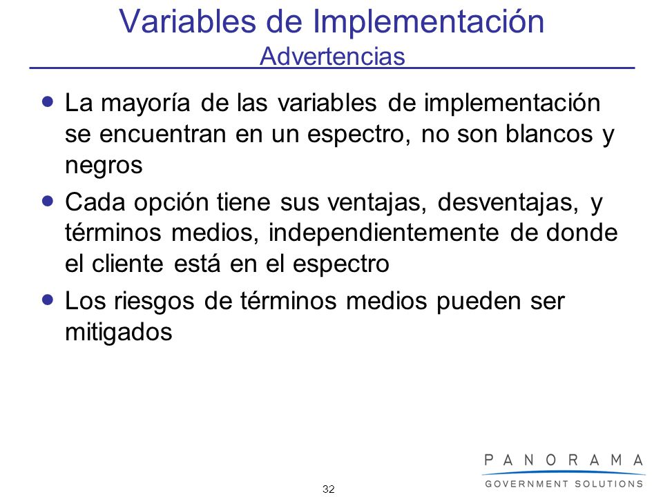 Variables de Implementación Advertencias