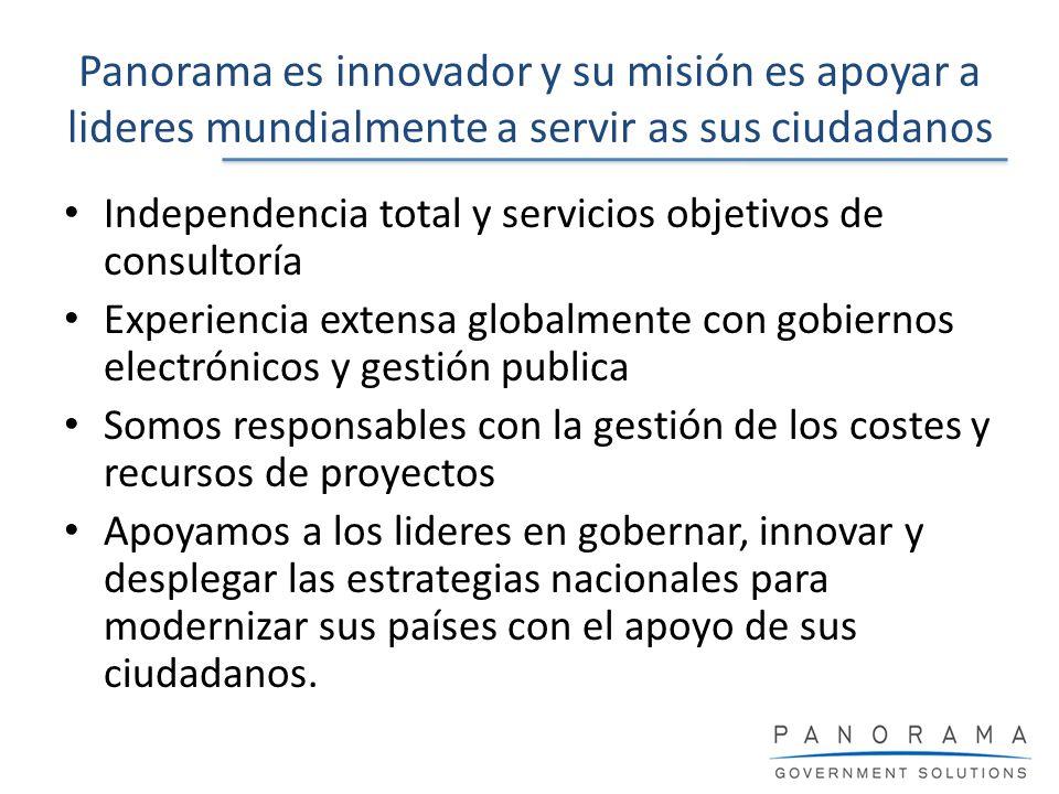 Panorama es innovador y su misión es apoyar a lideres mundialmente a servir as sus ciudadanos