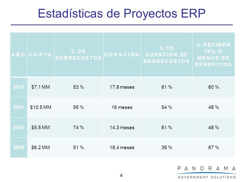 Estadísticas de Proyectos ERP