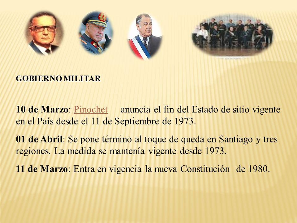 11 de Marzo: Entra en vigencia la nueva Constitución de 1980.