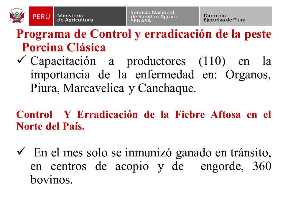 Programa de Control y erradicación de la peste Porcina Clásica