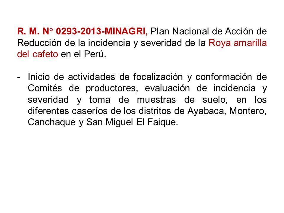 R. M. N° 0293-2013-MINAGRI, Plan Nacional de Acción de Reducción de la incidencia y severidad de la Roya amarilla del cafeto en el Perú.