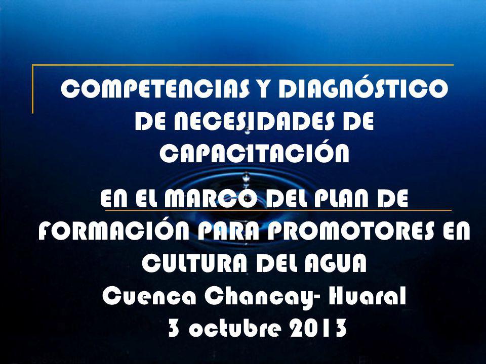 COMPETENCIAS Y DIAGNÓSTICO DE NECESIDADES DE CAPACITACIÓN EN EL MARCO DEL PLAN DE FORMACIÓN PARA PROMOTORES EN CULTURA DEL AGUA Cuenca Chancay- Huaral 3 octubre 2013
